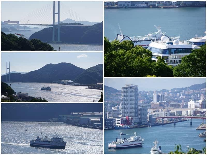 三菱第二船塢宿舍舊址看長崎港經過的輪船