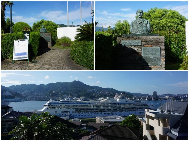 哥拉巴故居前方可以看到停放在長崎港的大型郵輪