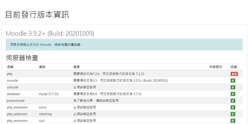 moodle網站升級中檢查php還有問題