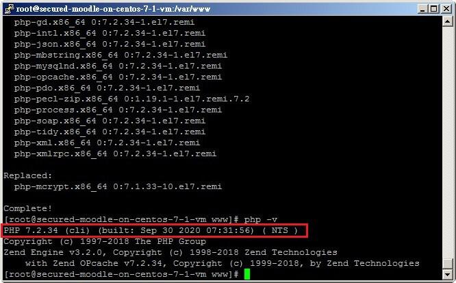 moodle網站php版本已升級7.2.34