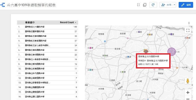 gds上的地圖顯示地區國中與錄取人數