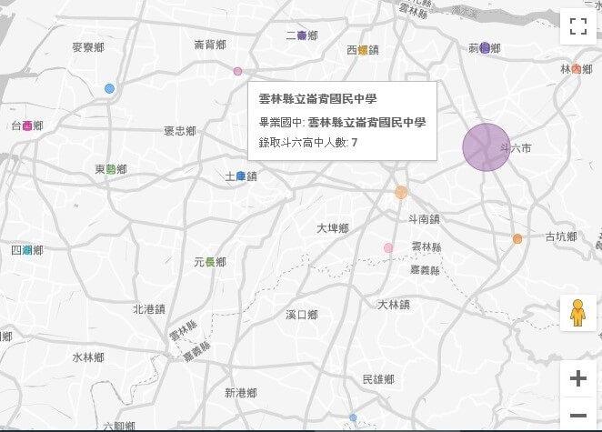 每個鄉鎮代表國中的點可以顯示資料