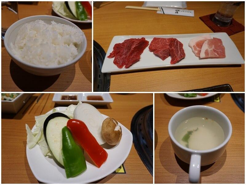 長崎和牛焼肉ぴゅあ的肉與菜